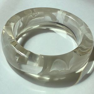 Vintage Clear Lucite Bangle Bracelet
